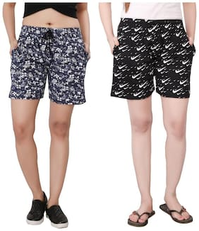 Bfly Women Printed Sport shorts - Black