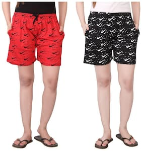 Bfly Women Printed Sport shorts - Red