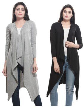 Bfly Women's Viscose Long Shrug (Black & Grey) Set of 2