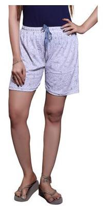Bfly Women's Printed Cotton Hosiery Shorts (White)