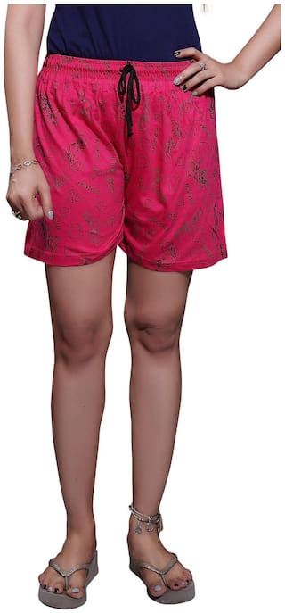 Bfly Women Solid Sport shorts - Red