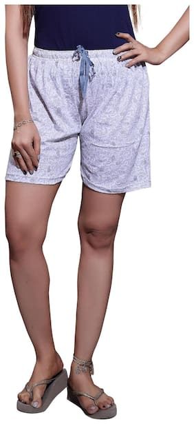 Bfly Women Printed Sport shorts - White