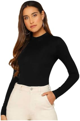 BHAGYASHRAY Women Solid Regular top - Black