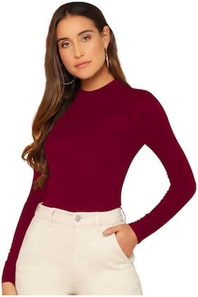 BHAGYASHRAY Women Solid Regular top - Maroon