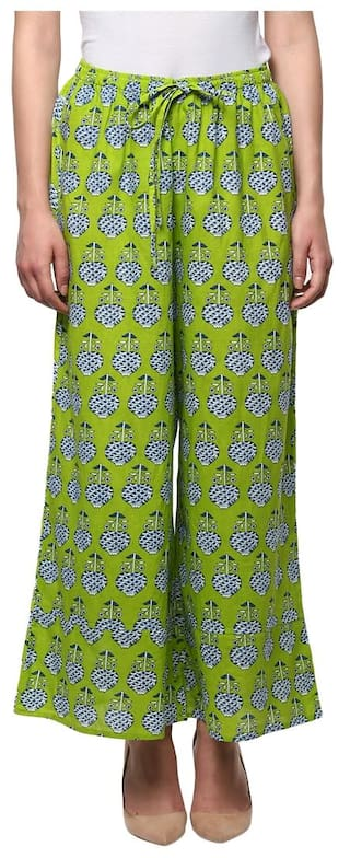 Bhama Couture Green Printed Cotton Palazzo