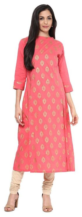 BHAMA COUTURE Women Cotton Straight Kurta - Pink
