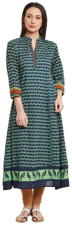 BHAMA COUTURE Women Green Printed Anarkali Kurta