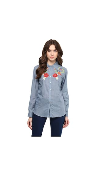 Bhama Couture Woman Blue Cotton Shirt With Embroidery Around The Collar
