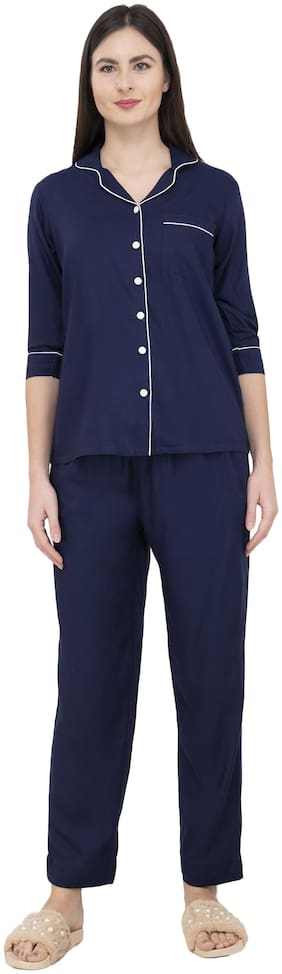 BHUMANTE Comfortable  Blue Rayon Shirt Pajama Night Suit Set with Contrast Piping