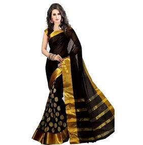 Bhuwal Fashion Zari Embroidery Poly Cotton Silk Saree With Blouse Pcs
