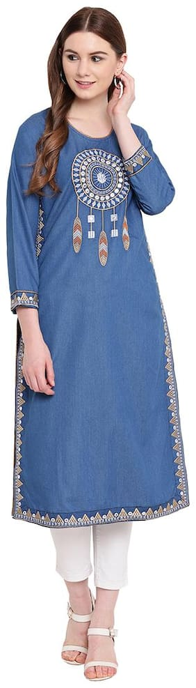 Women Embroidered Straight