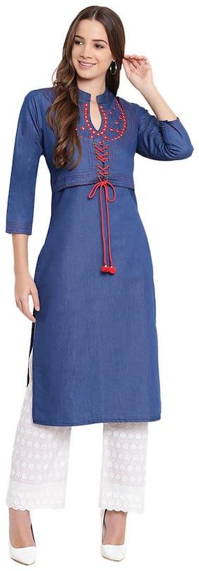 Women Embroidered;Solid Straight Kurta;Kurti