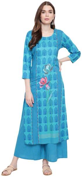 BI AMMA Women Turquoise & Blue Printed Straight Kurta With Palazzo