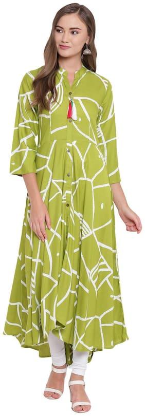 BI AMMA WOMEN'S RAYON FLARED AND FRONT SLIT LIME-GREEN LONG  STYLISH KURTA