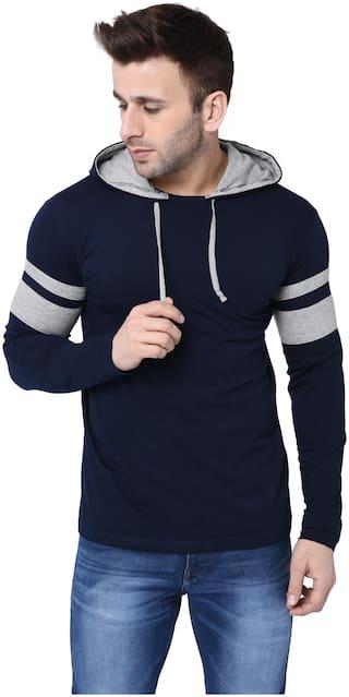 Bi Fashion Men Navy blue Regular fit Cotton Hood T-Shirt - Pack Of 1