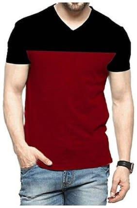 Men V Neck Colorblocked T-Shirt Pack Of 1