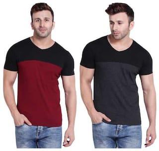 Bi Fashion Men Multi Regular fit Cotton V neck T-Shirt - Pack Of 2