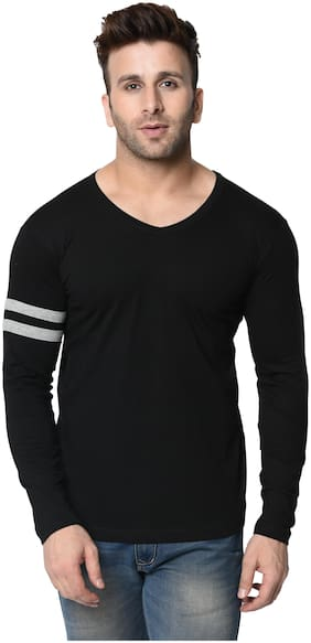 Men V Neck Self Design T-Shirt