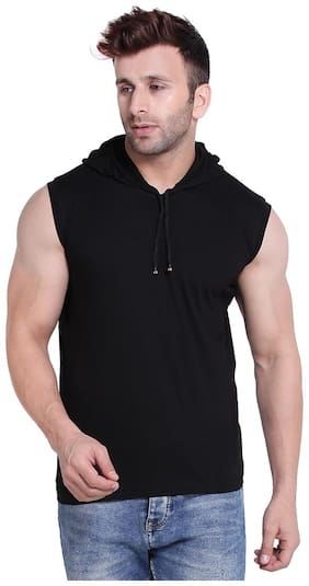 Men Hood Solid T-Shirt