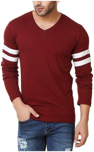 Bi Fashion Men Regular fit V neck Solid T-Shirt - Red