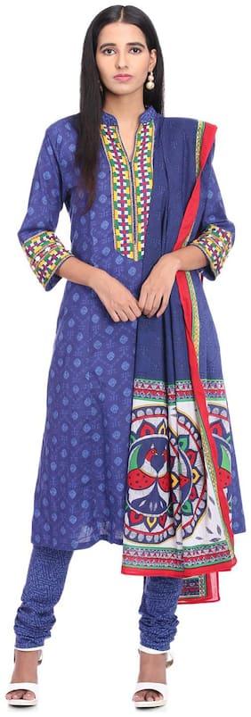 BIBA Blue Cotton Straight Suit Set