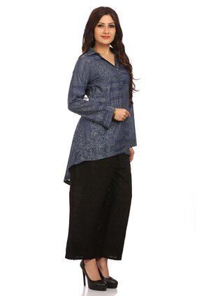 BIBA Women Cotton Dyed Layered Kurti - Blue