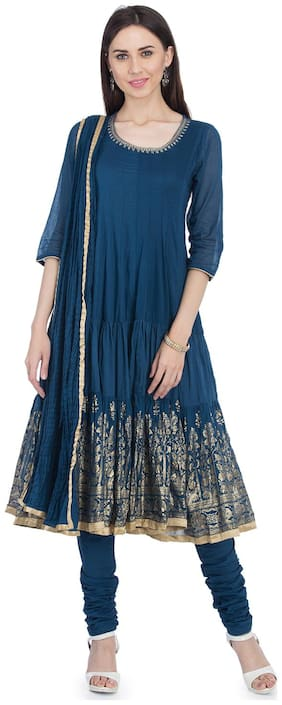 BIBA Women Blue Solid Angrakha Kurta With Churidar And Dupatta