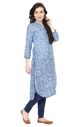 BIBA Women Polyester Printed Straight Kurta - Blue