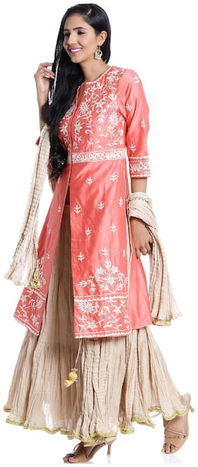 BIBA Coral Flared Cotton Silk Suit Set