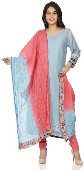 BIBA Light Pink and Turquoise Cotton Dupatta