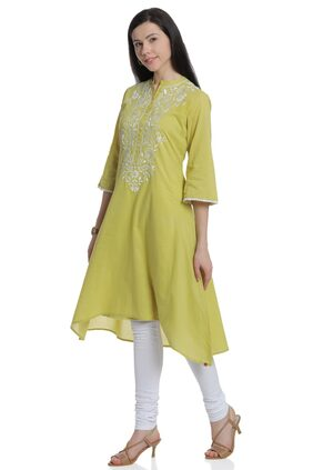 BIBA Women Cotton Printed Layered Kurta - Green
