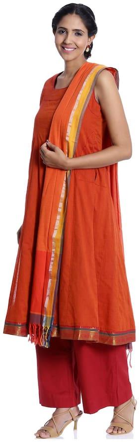 BIBA Orange Kalidar Cotton Suit Set