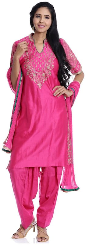 BIBA Pink Straight Cotton Silk Suit Set