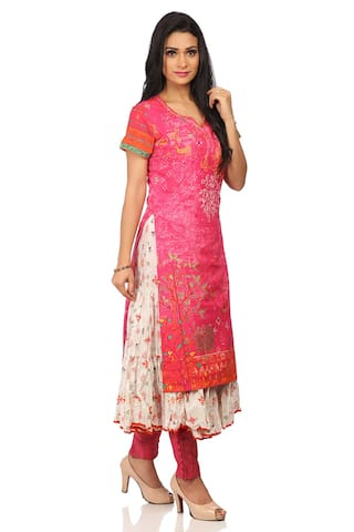 BIBA Women Cotton Printed Straight Kurta - Pink