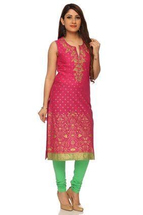 BIBA Women Viscose Printed Straight Kurti - Pink