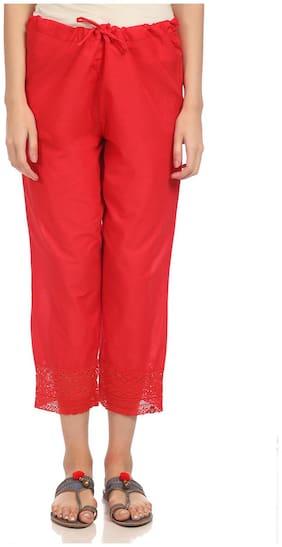 BIBA Cotton Palazzos - Red
