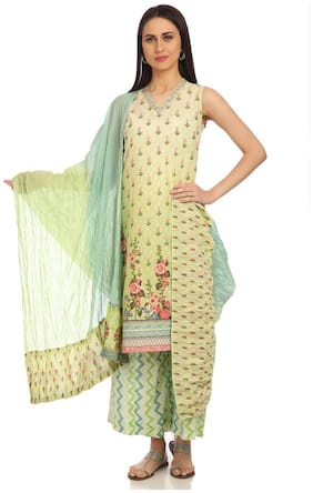 BIBA Turquoise And Green Cotton Dupatta