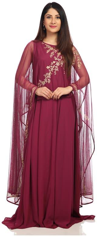 BIBA Wine Polyster Anarkali Suit Set