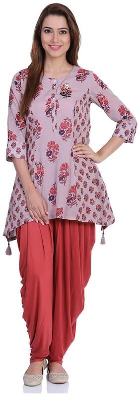 BIBA Women Cotton A-Line Kurta with Dhoti Pink;Purple color
