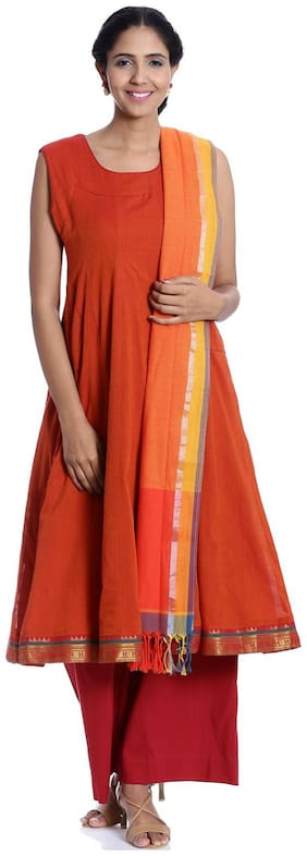BIBA Women Cotton Straight Kurta With Palazzo Orange color