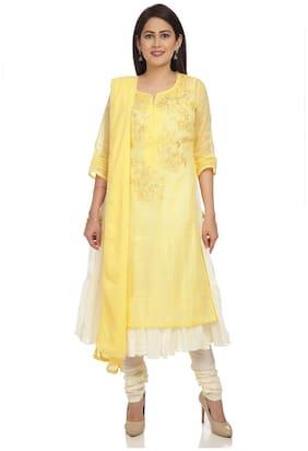 BIBA Women Cotton Straight Kurta With Churidar Yellow color