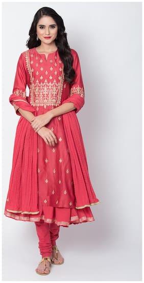 BIBA Women Silk Embroidery Kurta With Churidar Pink