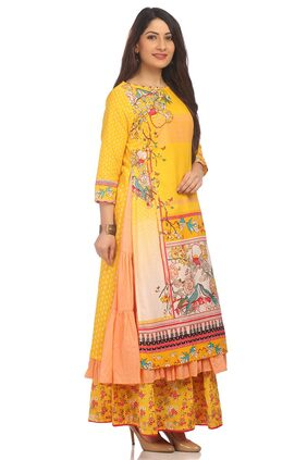 BIBA Women Cotton Printed Straight Kurta - Yellow