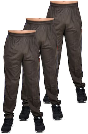 Binaca With Easltic Brown Plain fine Summer Joggres bottom wear Double Dyed PC Single Full bottom wear Binaca Bolt pack of 3
