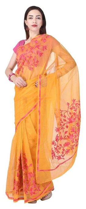 Binori Women's Aari Work Pure Kota Supernet Cotton Saree With Blouse (Orange)