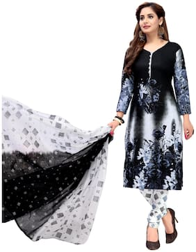 Biyu Black & White Unstitched Synthetic Dress Material With Printed Dupatta