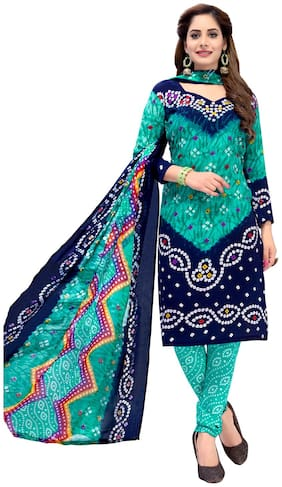 Biyu Green & Blue Unstitched Synthetic Dress Material With Printed Dupatta