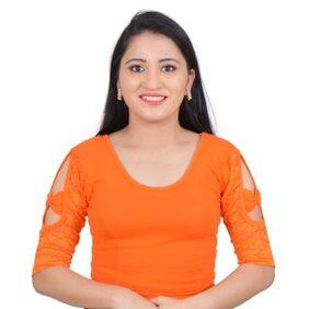 Biyu Orange Bow sleeve Stretchable Cotton Lycra Saree Blouse