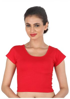 Biyu Red Cap Sleeves Shimmer Readymade Stretchable Cotton Lycra Blouse