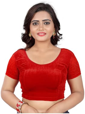 BKD Fashion Readymade Velvet Blouse For Women Red color